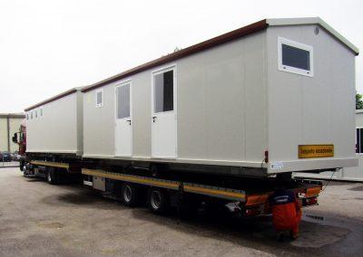 Casa mobile in fase di trasporto