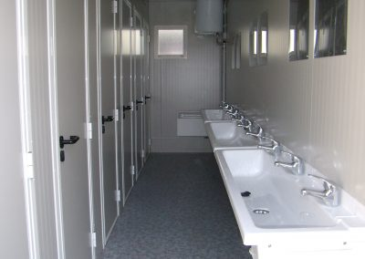 public toilets with long sinks